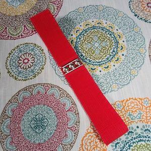 Malco Modes Red Cinch Waste Wide Belt Size Medium